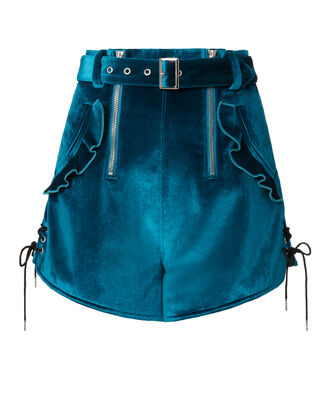 Double Zip Belted Velvet Shorts, BLUE, hi-res