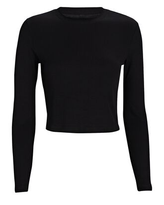 Long Sleeve Crop Top, BLACK, hi-res