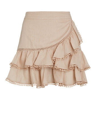 Fera Ruffled Mini Skirt, BEIGE, hi-res