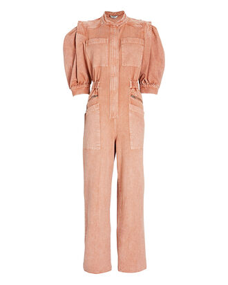 Hildur Acid Wash Denim Jumpsuit, CORAL, hi-res