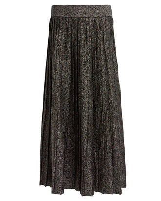 Nevada Metallic Pleated Skirt, BLACK/GOLD METALLIC, hi-res