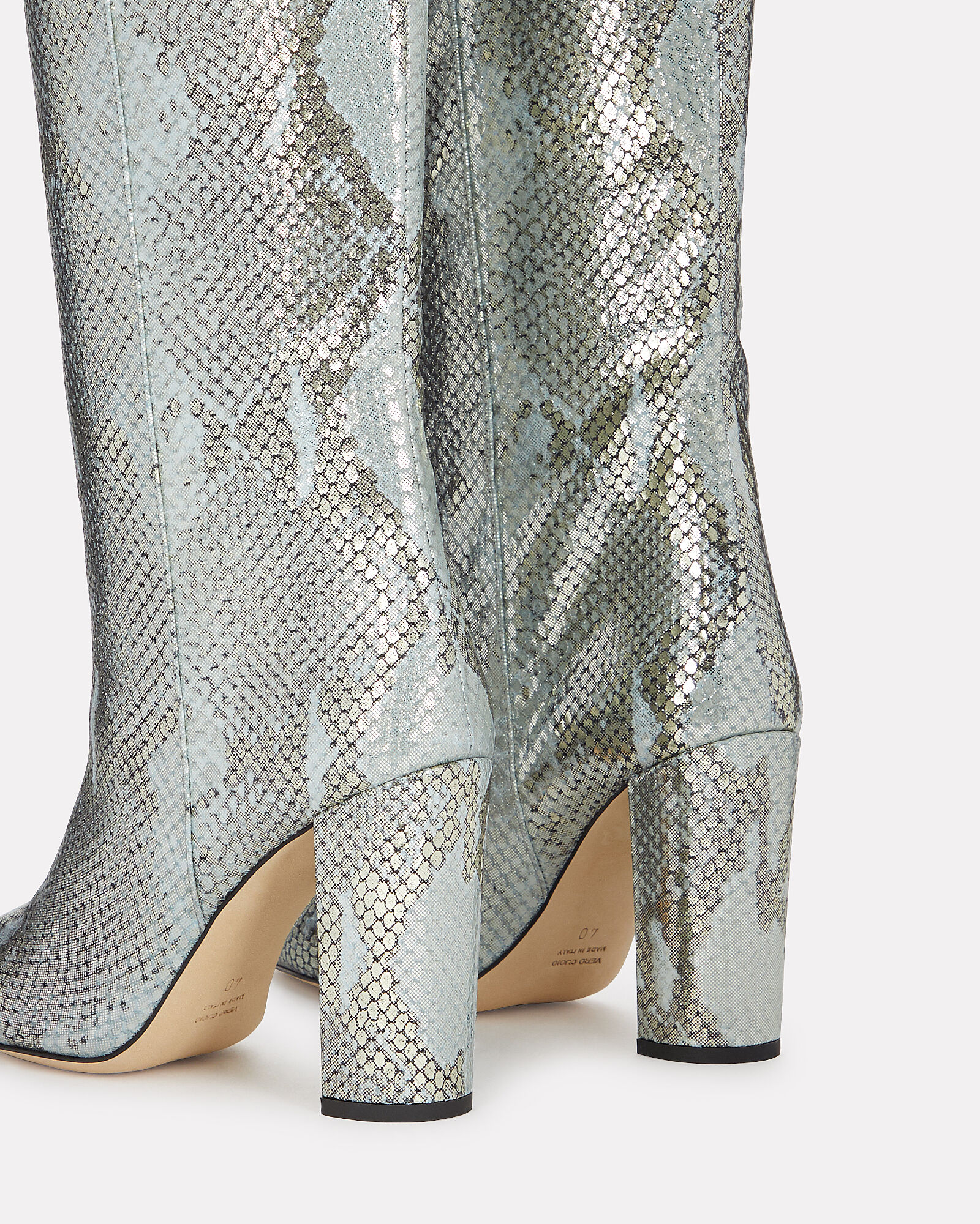 Snake Lamé Knee-High Boots, SILVER/BLUE, hi-res