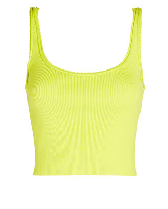 Picot Stitch Cropped Tank Top, NEON GREEN, hi-res