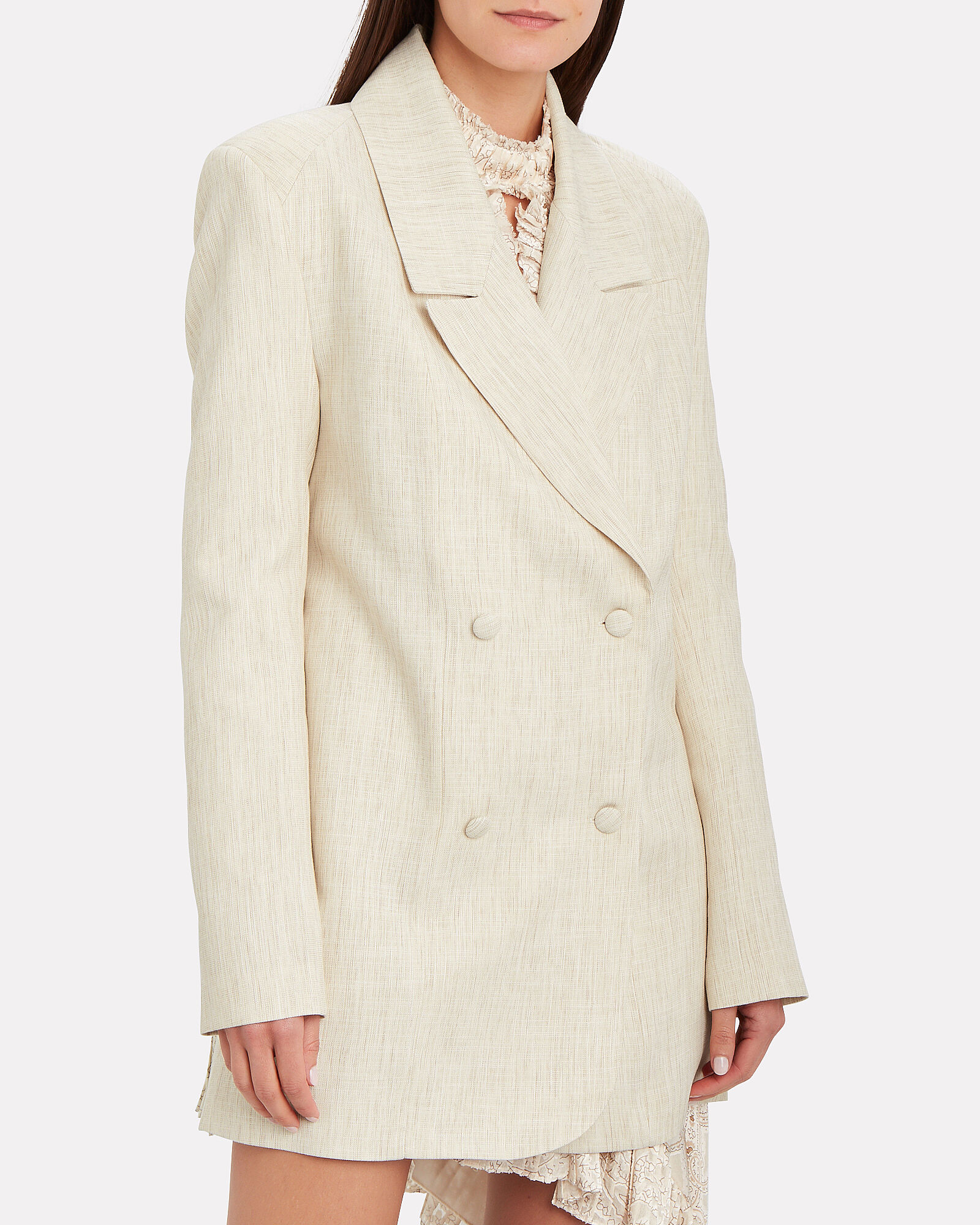 Double-Breasted Tailored Blazer, BEIGE, hi-res