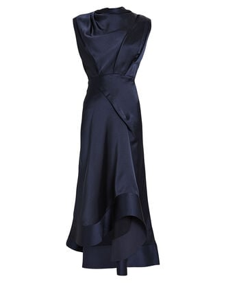 Dalisay Draped Satin Dress, NAVY, hi-res