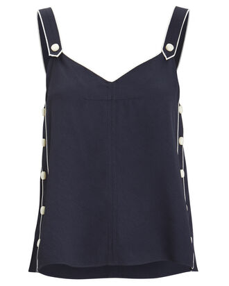 Tia Nautical Button Tank, NAVY, hi-res