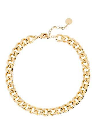 Rainier Curb Chain Choker Necklace, GOLD, hi-res