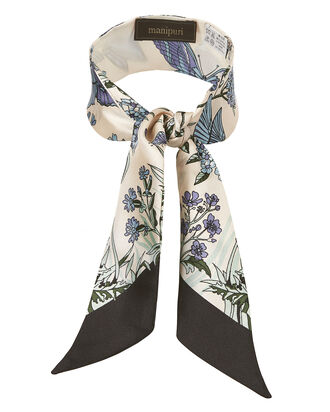 Butterfly And Floral Print Twilly Scarf, PURPLE, hi-res