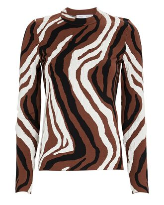 Zebra Knit Jacquard Top, BROWN/BLACK/WHITE, hi-res