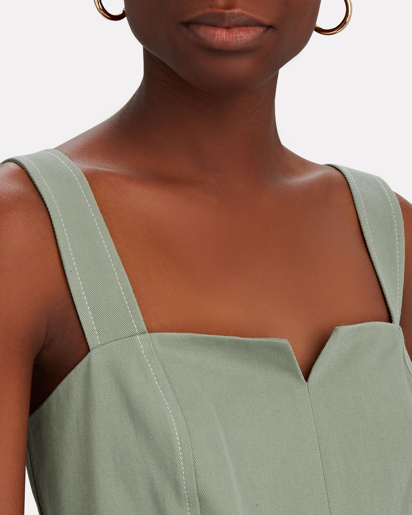 Stefania Belted Cotton Twill Romper, GREEN, hi-res