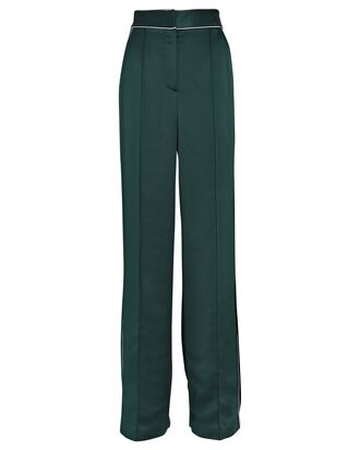Edia Satin Wide-Leg Trousers, GREEN, hi-res