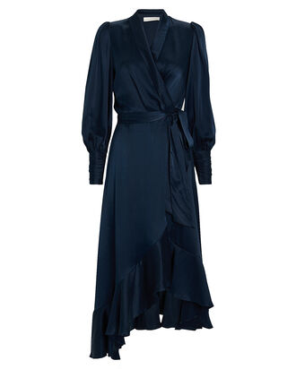 Silk High-Low Wrap Dress, NAVY, hi-res