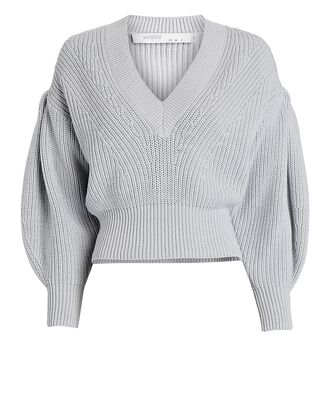 Kiria V-Neck Puff Sleeve Sweater, LIGHT BLUE, hi-res