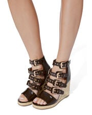 Rosario Buckled Wedge Espadrilles, BROWN, hi-res