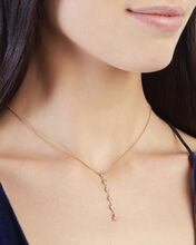 Six Diamond Y Lariat Necklace, GOLD, hi-res
