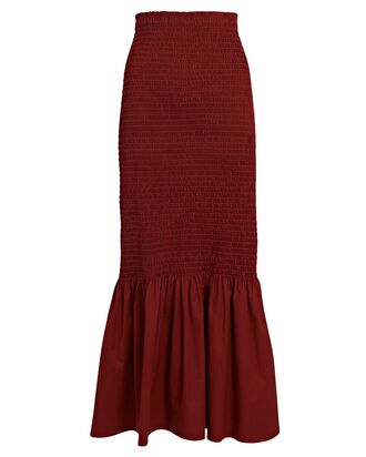 Lyra Smocked Poplin Midi Skirt, BRICK RED, hi-res