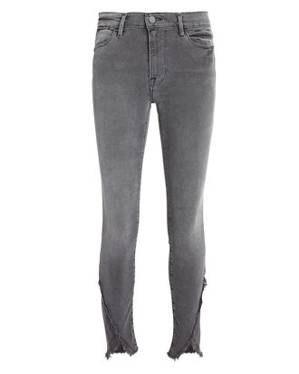 Quinby Asymmetrical Frayed Hem Jeans, GREY, hi-res