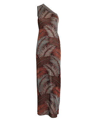 Palm Knit Jacquard One-Shoulder Dress, MULTI, hi-res