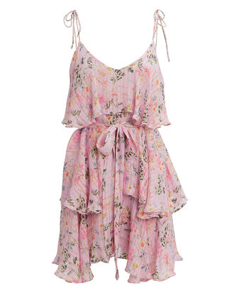 Pink Floral Print Mini Dress, PINK/FLORAL, hi-res