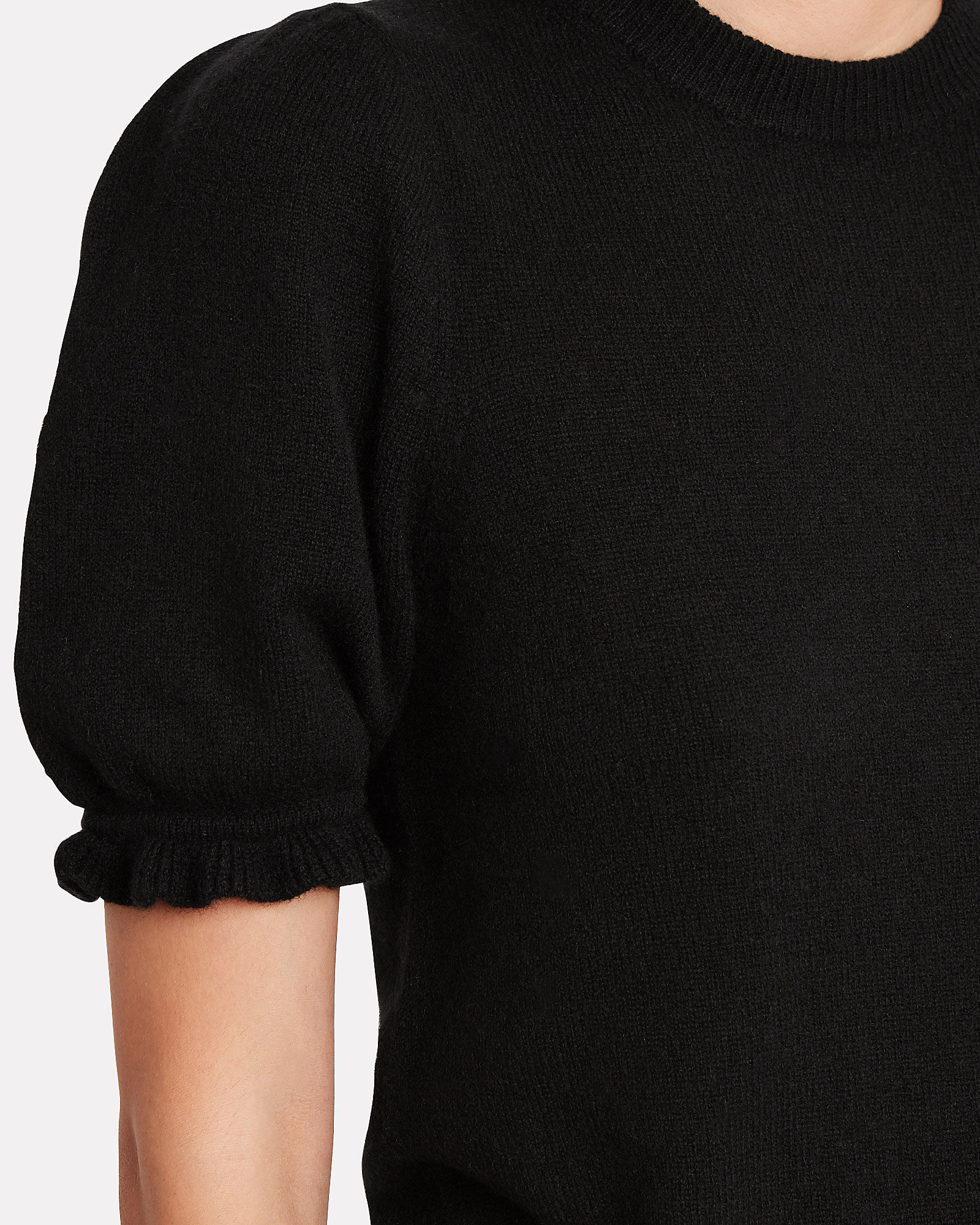 Shirred Puff Sleeve Cashmere Top, BLACK, hi-res