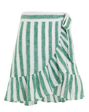 Etienne Striped Wrap Skirt, GREEN/WHITE, hi-res