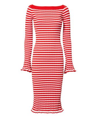 Off Shoulder Ribbed Dress, RED, hi-res