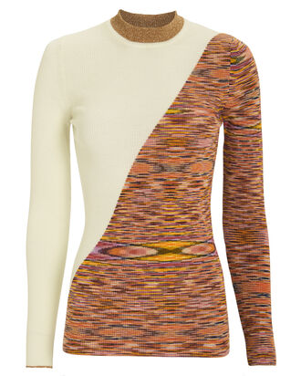 Colorblock Rib Knit Top, WHITE/RAINBOW, hi-res