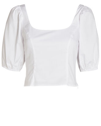 Papaya Poplin Puff Sleeve Top, WHITE, hi-res