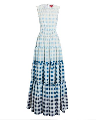 Riviera Sleeveless Gingham Maxi Dress, BLUE, hi-res