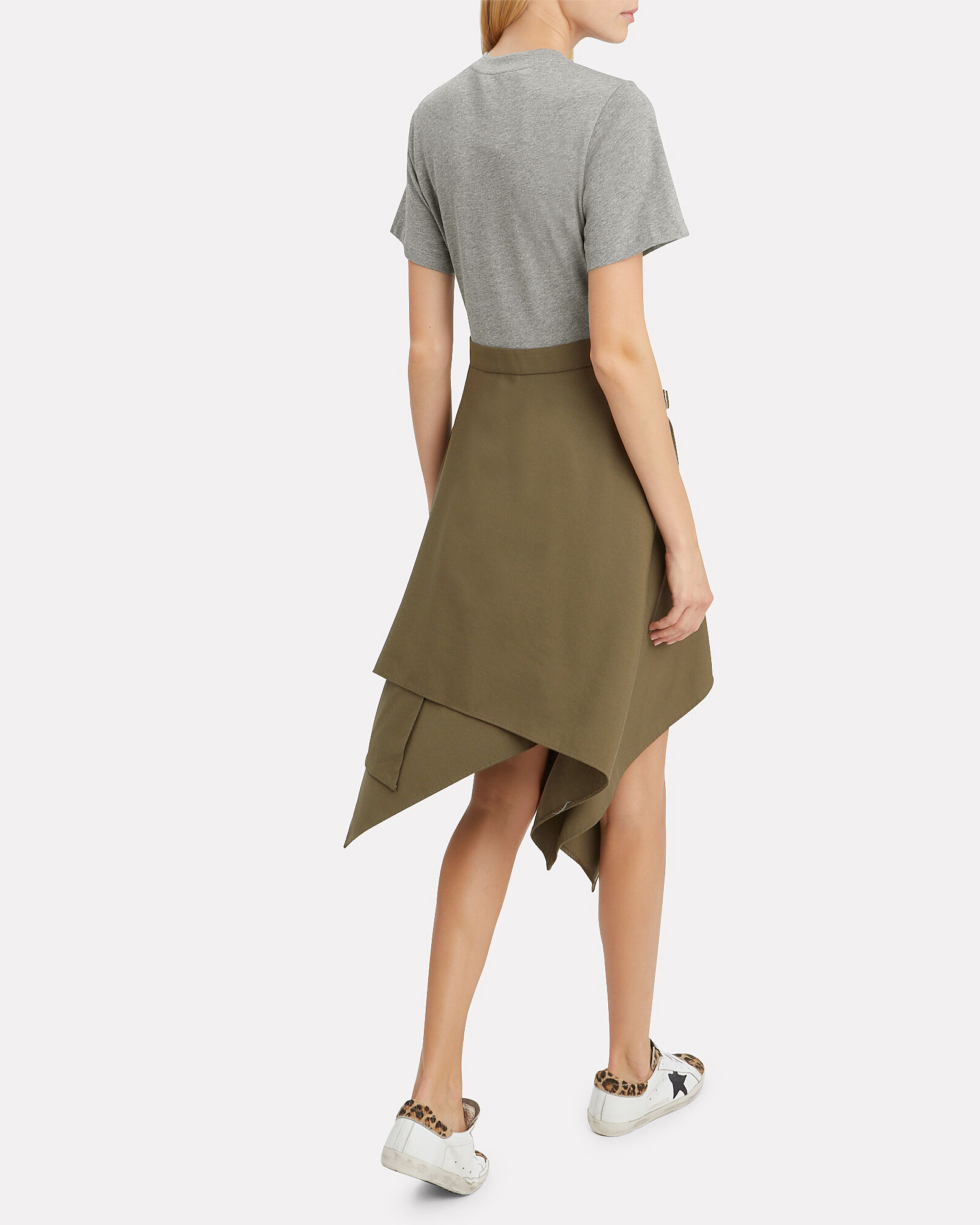 Handkerchief Dress, GREY/OLIVE, hi-res