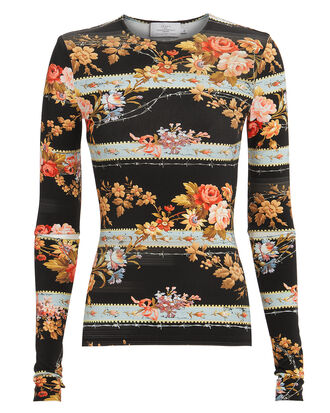 Ida Floral Top, BLACK/FLORAL, hi-res