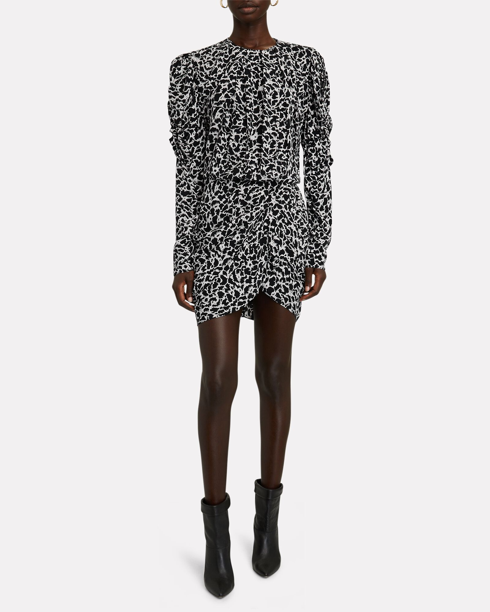 Selwyn Printed Long Sleeve Mini Dress, BLACK/LIGHT BLUE, hi-res