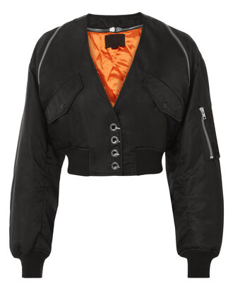 V-Neck Cropped Bomber Jacket, BLACK, hi-res