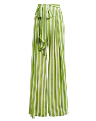 Striped Wide Leg Pants, GREEN/WHITE, hi-res