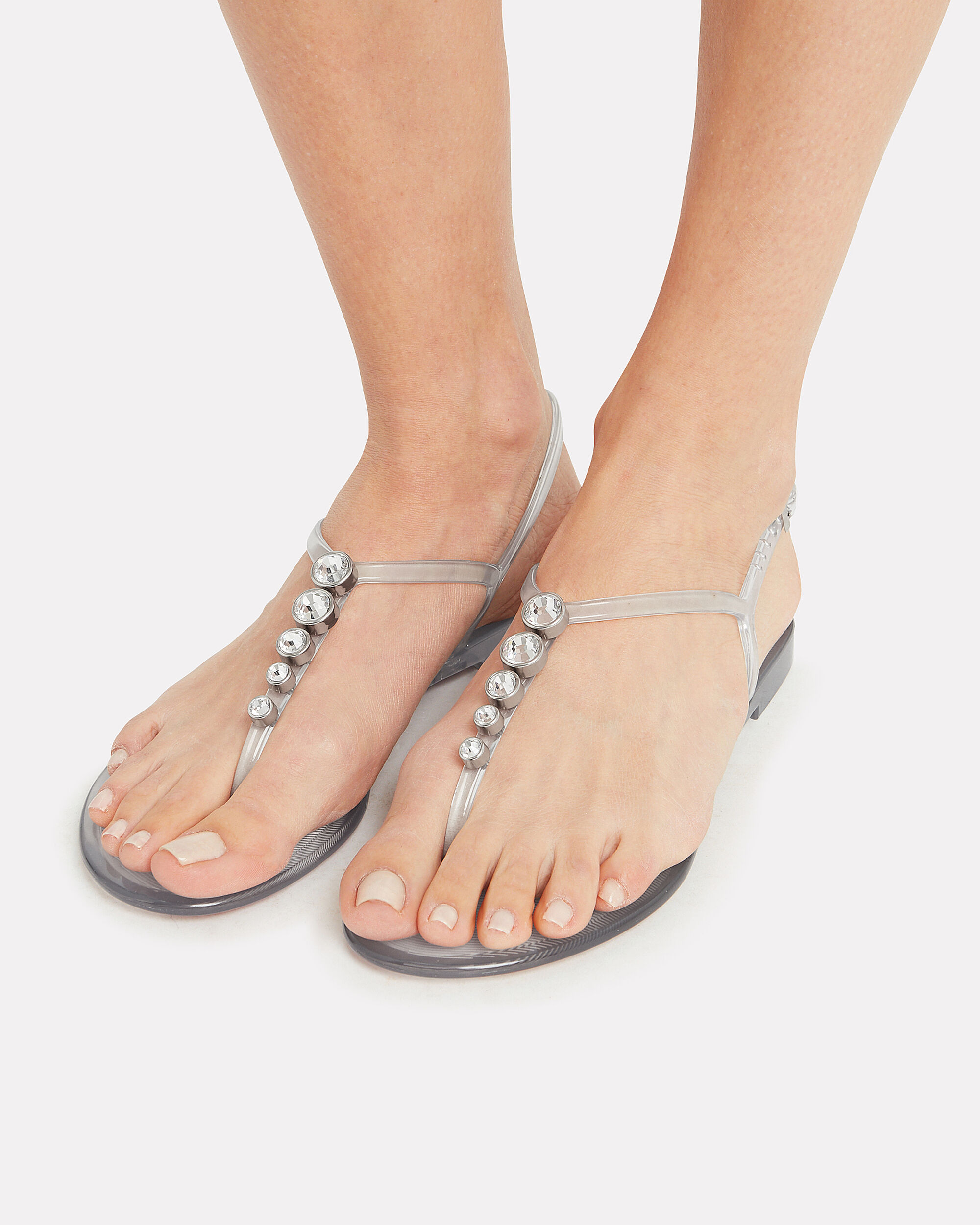 White Stone Embellished Jelly Sandals, CLEAR, hi-res