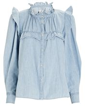 Idety Ruffled Button-Down Blouse, LIGHT BLUE, hi-res