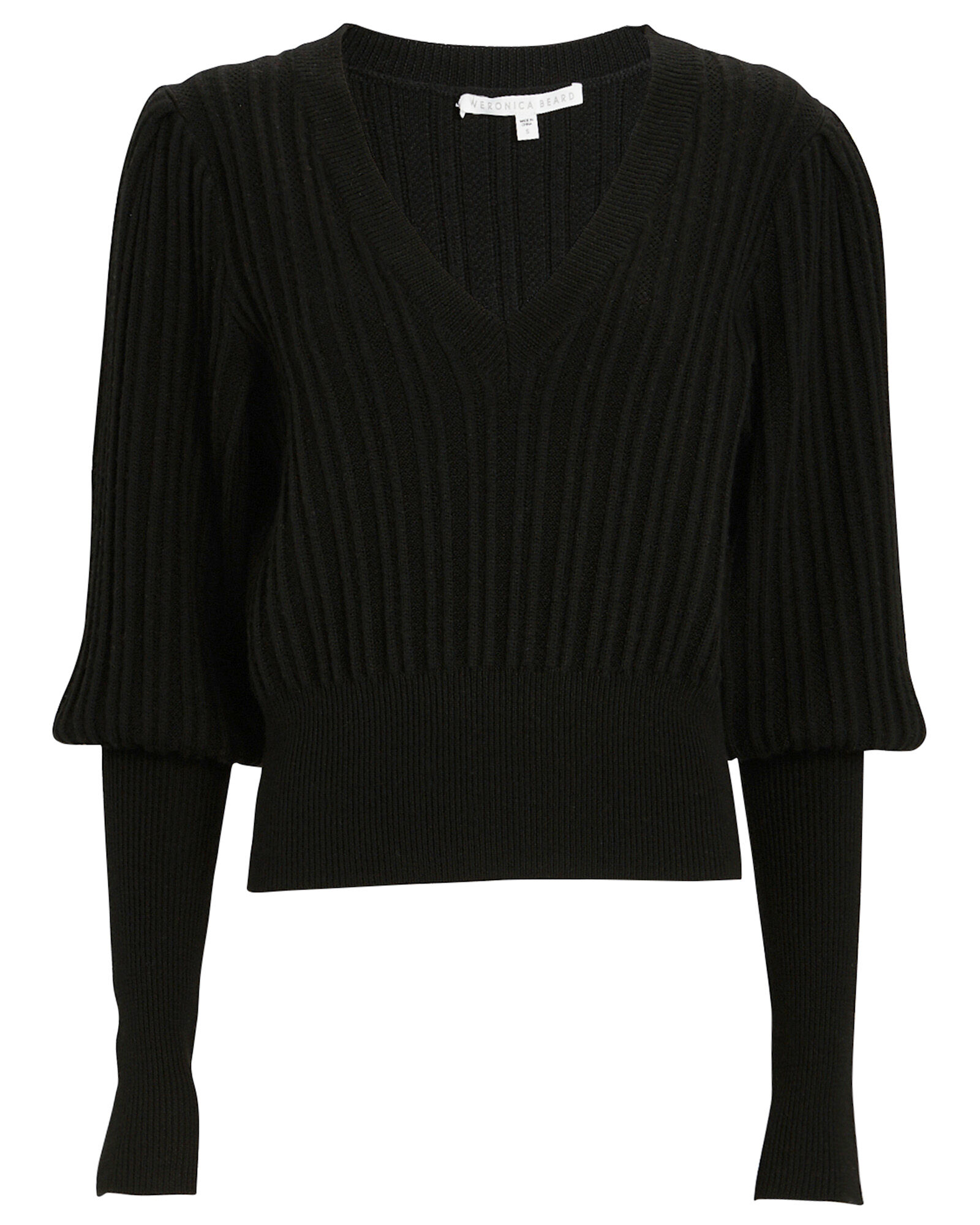 Esme V-Neck Puff Sleeve Sweater, BLACK, hi-res