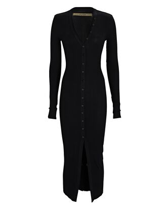 Silk Rib Knit Cardigan Midi Dress, BLACK, hi-res