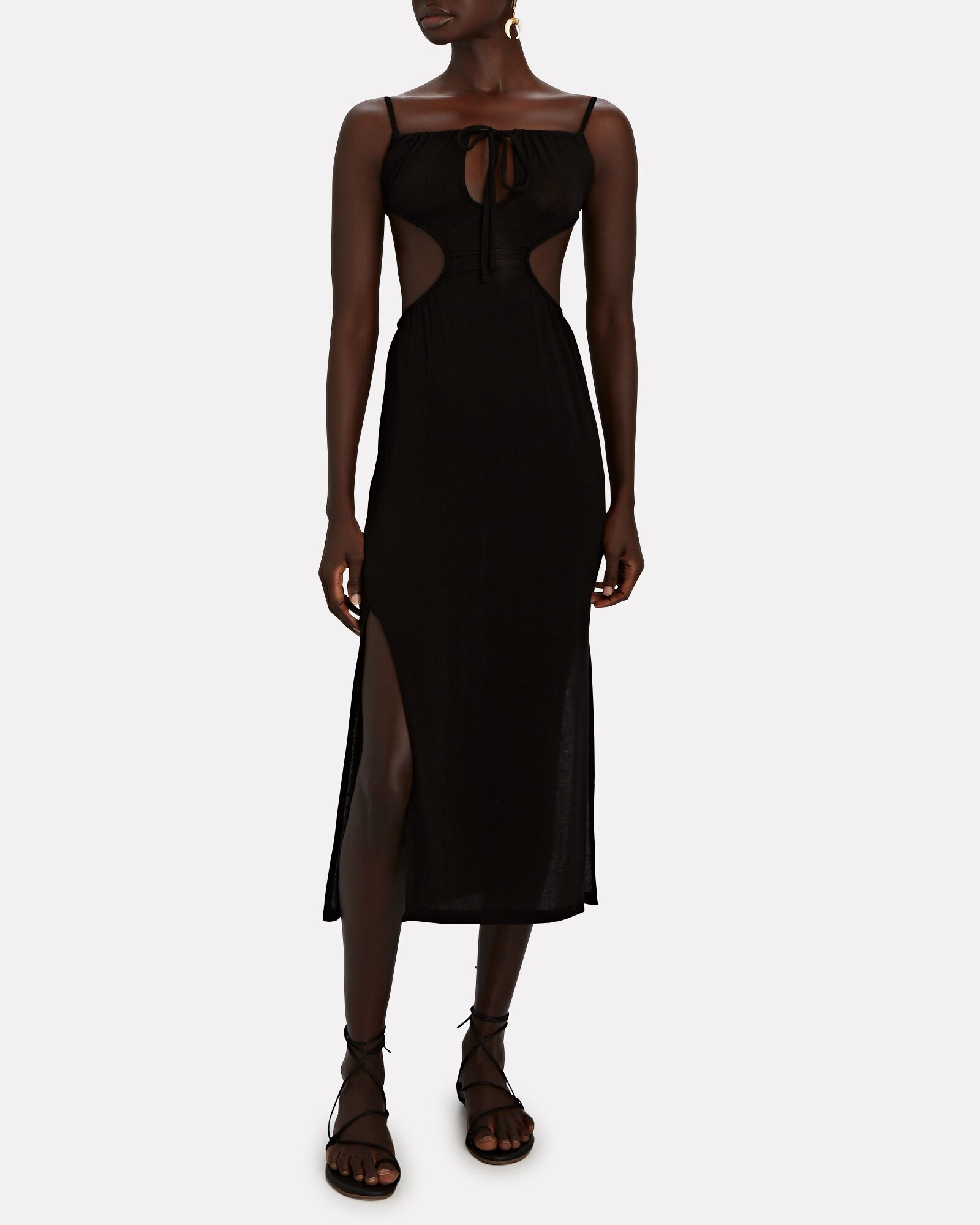 Ruched Sleeveless Cut-Out Knit Dress, BLACK, hi-res