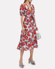 Red Sea Midi Dress, BLUE/RED FLORAL, hi-res