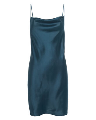 Navy Cowl Neck Slip Dress, BLUE-MED, hi-res