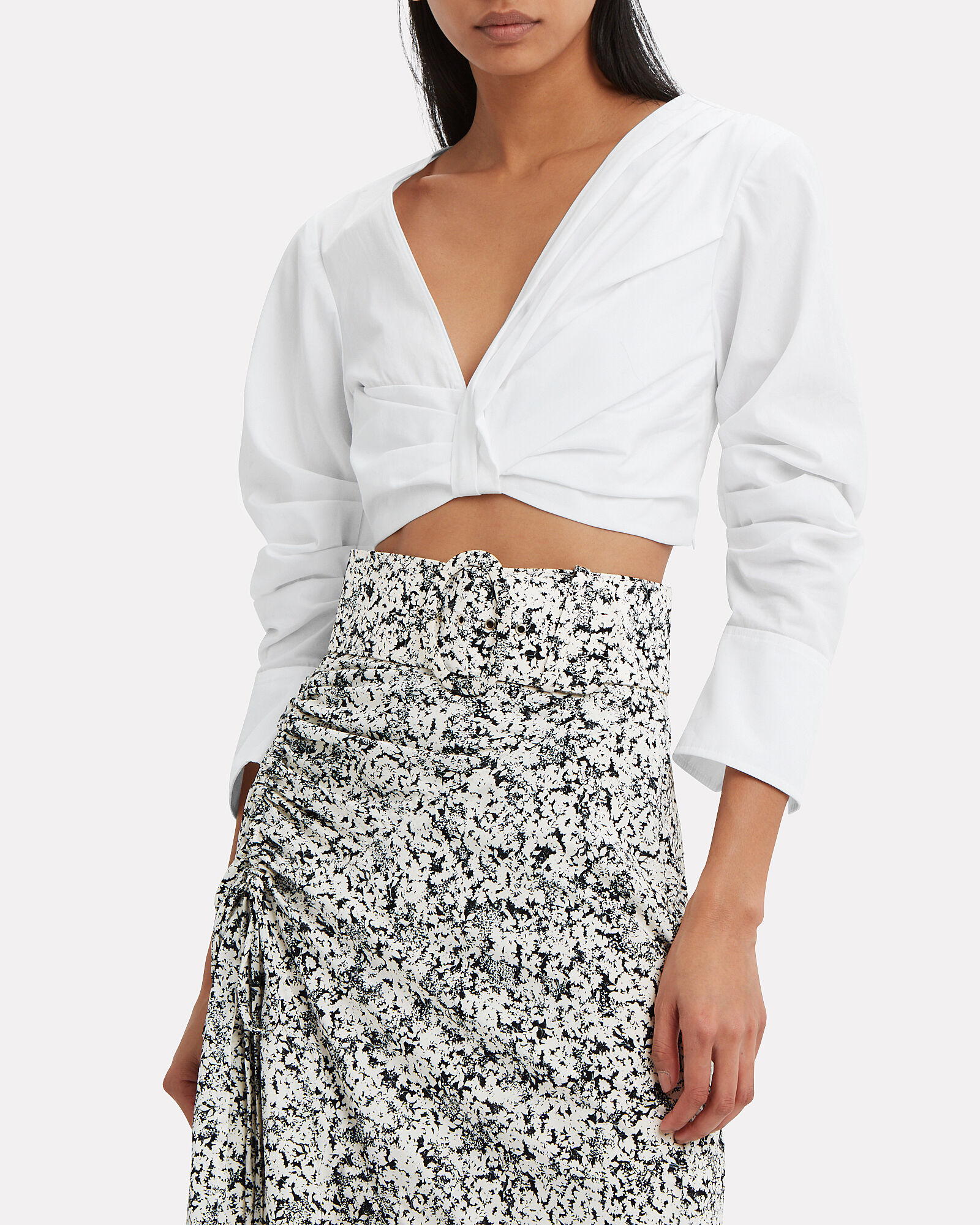 Elise Poplin Crop Top, WHITE, hi-res