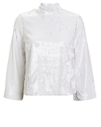 Nala Sequined Blouse, WHITE, hi-res