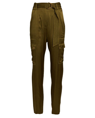Addison Belted Satin Cargo Pants, OLIVE, hi-res
