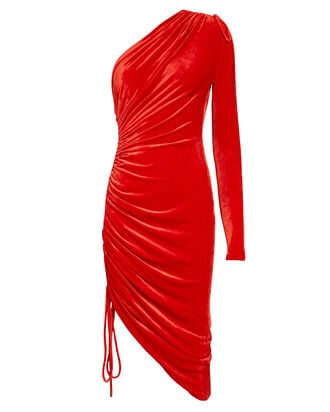Velvet Ruched Asymmetrical Mini Dress, RED, hi-res