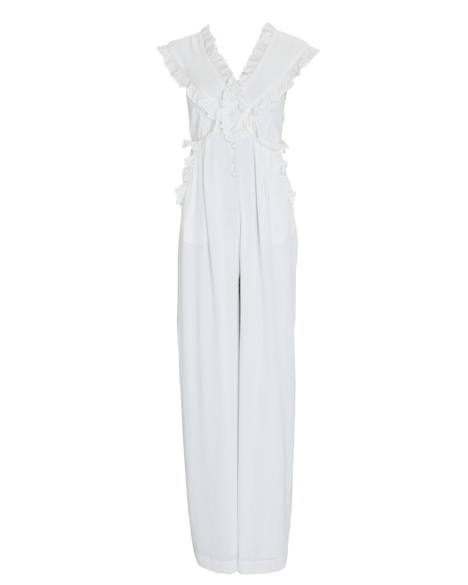 Evelyn Ruffled Silk Jumpsuit, WHITE, hi-res