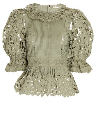 Mildred Cotton-Linen Lace Top, LIGHT GREEN, hi-res