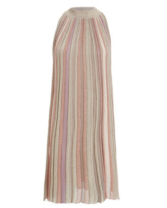 A-Line Striped Sleeveless Dress, PURPLE-LT, hi-res