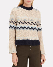 Fair Isle Knitted sweater, BEIGE/NAVY, hi-res