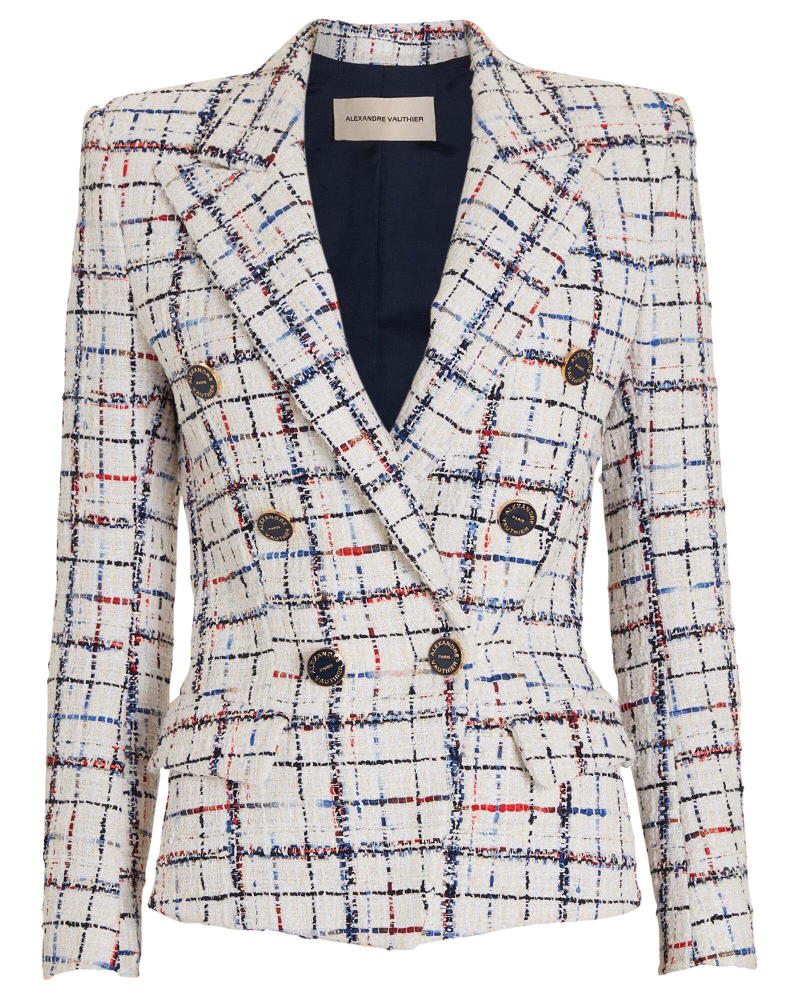 Rainbow Tweed Checked Blazer, WHITE/CHECK, hi-res